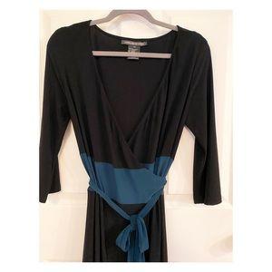 Jones Wear Dresses - Jones Wear Black & Teal Wrap Dress